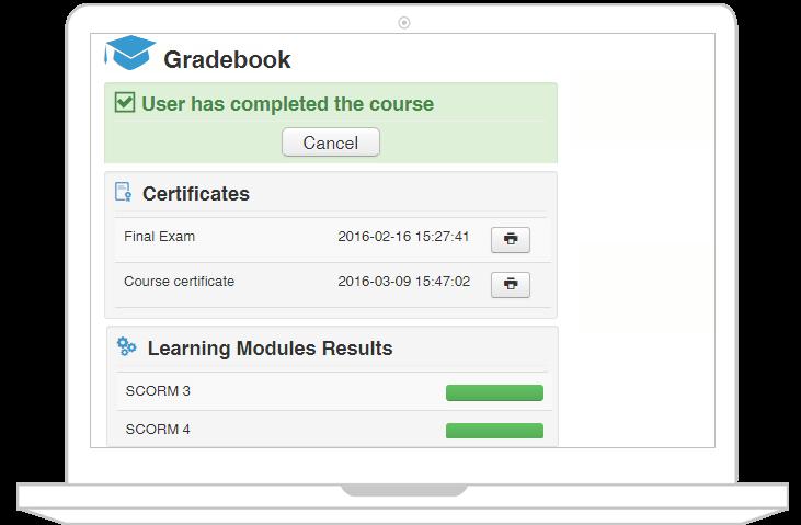 JoomLMS gradebook