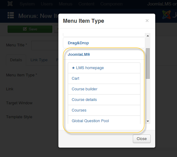 Add JoomlaLMS menu