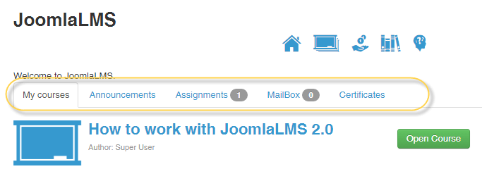Appearance JoomlaLMS Front End