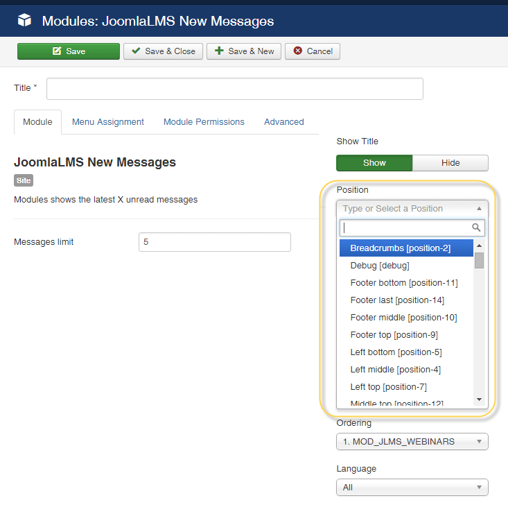 JoomlaLMS modules position
