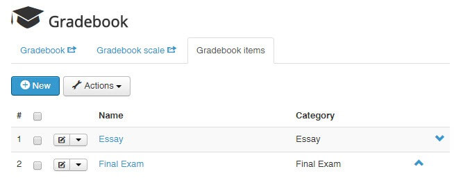 add new gradebook item joomlalms