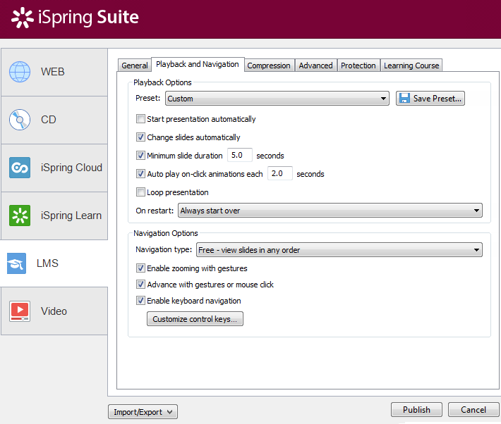 ispring interface