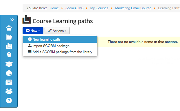 new learning path joomlalms