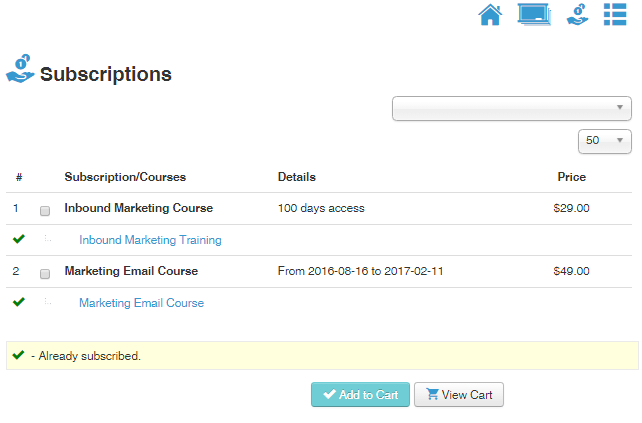 a list of subscriptions paid courses