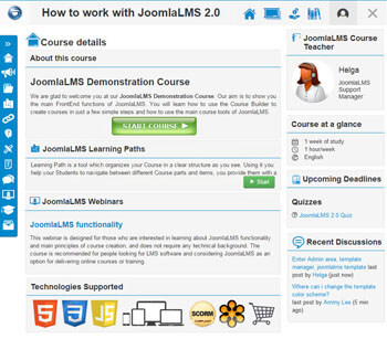 JoomlaLMS interface